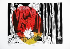 Linocut. The story of a traveler in the dark forest