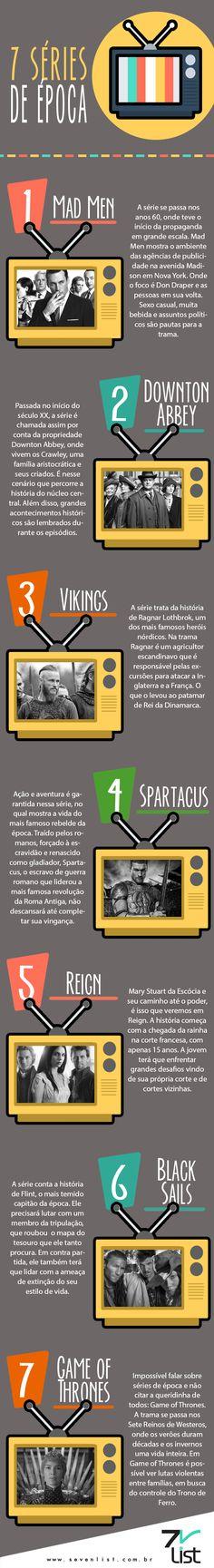 #Sevenlist #Infográfico #Infographic #List #Illustration #Lista #Ilustração #Desenho #Séries #Tvshow #Tv #Sériedeépoca #Madmen #Downtonabbey #Vikings #Spartacus #Reign #Blacksails #Gameofthrones