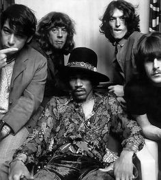 Jimi Hendrix with Carl Wayne, Steve Winwood, John Mayall and Eric Burdon