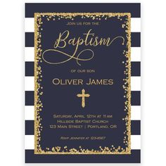 Navy and Gold Baptism Invitation