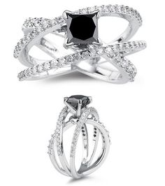 This breathtaking Black Diamond Ring highlights a princess cut black Diamond accented with 64 Round White Diamonds prong set in 18K White Gold. Black Diamond weight 1.50 Carats  White Diamond weight 0.70 Carats