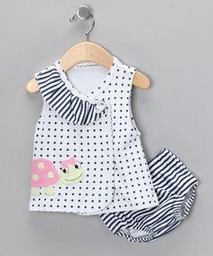 White Polka Dot Ladybug Wrap Dress & Diaper Cover - Infant