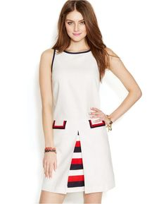 Zooey Deschanel for Tommy Hilfiger Inverted-Pleat Shift Dress from Macy's on Catalog Spree