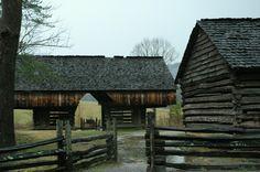 Historic cabin and barn along the Cades Cove loop