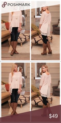 ITS IN!!!Blush pink chiffon layered tunic Gorgeous blush pink sweater with chiffon layered back. Pair with leggings and a statement necklace!! 😍💗 ITS IN!!! Infinity Raine Sweaters
