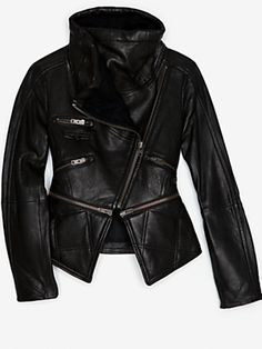 Yigal Azrouel Leather Jacket | Leather Jacket With Cable Knit Sweater Collar