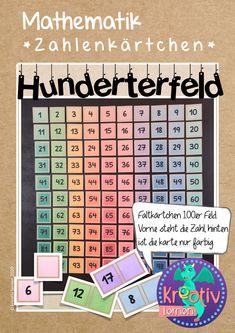 Dieses Unterrichtsmaterial eignet sich prima dazu, den Zahlenraum bis 100 spielerisch zu erkunden. Man kann die Karten legen, Zahlen verstecken, alle 100 Felder mit kleinen Gegenständen belegen um zu sehen, wie viele 100 sind. Auch geeignet für den Distanzunterricht und das Lernen zu Hause! Felder, Periodic Table, Diagram, Homeschooling, Free Worksheets, Play Based Learning, Math Education, Multiplication Tables, Teaching