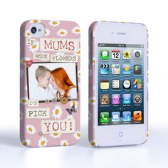 Caseflex iPhone 4 / 4S 'If Mums Were Flowers' Personalised Hard Case – Pink  #MothersDay #Pink #Daisys #Personalised #Personal #YouAreTheBestMum! #Printed #Letters #Typography #Illustration #Frame #Flowers #Butterfly #Holiday #Celebration #Gift #Present #Apple #iPhone4 #iPhone4S #Case #Cover #HardCase #PhoneCover