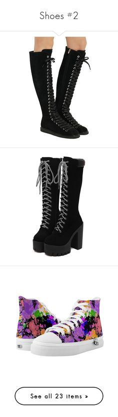 """Shoes #2"" by aj-the-creepypasta ❤ liked on Polyvore featuring shoes, boots, ankle booties, black, black suede boots, black laced booties, leather lace up boots, lace up boots, black boots and heels"