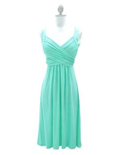 Exquisite Light Turqoise A-line V-neck Neckline Knee Length Bridesmaid Dress