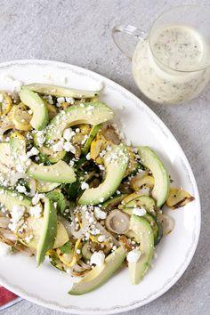 Grilled Summer Squash, Avocado, and Feta Salad with White Vinaigrette #ArtOfCheese @PresidentCheese