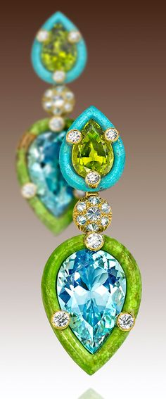 Nicholas Varney 2013 Duo earrings featuring two pear-shape aquamarines set into hand-carved gaspeite, paired with two pear-shaped peridots set into hand-carved turquoise and joined by yellow gold and diamonds.