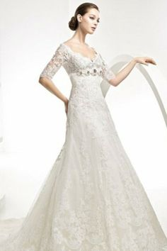 Lace Wedding Dresses With Sleeves Gorgeous Trumpet V Neck Flower Court Train