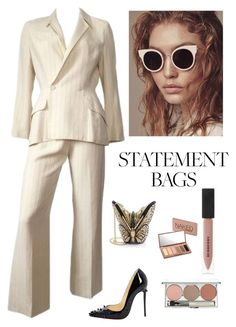 """""""Statement Bags"""" by kotnourka ❤ liked on Polyvore featuring Thierry Mugler, Judith Leiber, Christian Louboutin, Chantecaille, Burberry and Urban Decay"""