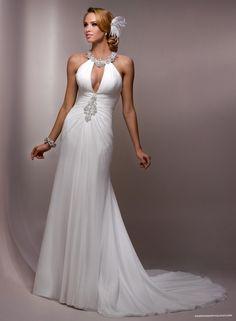 Paris Chiffon Jewel Neckline Sheath Wedding Dress