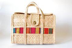 Vintage 60's raffia woven purse Summer Southwest Guatemalan weave LARGE oversized