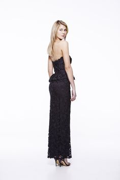 Propose Lace in Black #eileenkirby #lace #blackdress #prom #eveninggown #blacktie #strapless #backdetail #gowns