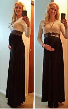 #24weeks #maternity #holiday #pregnant #bump Work Christmas party outfit: Black Maxi skirt (Victoria's Secret), Long Sleeve cream lace top (Rue 21), stretch belt (mom's), black ankle boots