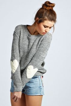 cute heart elbow patch sweater