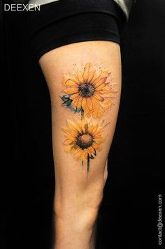 Two Pieces of Colored Sunflowers Tattoo Design.