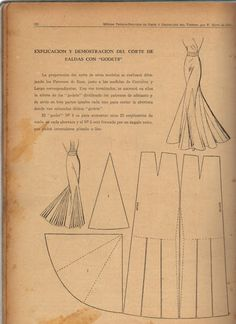 """Cutting preparation of these models will be made by drawing patterns Base, just Contour measures and corresponding length. Once completed, they will be marked in the height of the """"gores"""" dividing patterns front and back in three equal parts each to cut the opening where they placed these """"godets"""".  The """"godet"""" # 1 is to increase about 25 centimeters of flight in each opening and # 2 is per formed a right angle that may be interspersed Pleated or flat."""