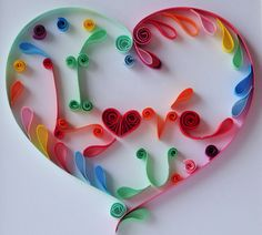 "Wall art, ""I love you"" in a quilling heart, quiling paper, quilling art, colorful, bright colour by Hiquilling on Etsy"
