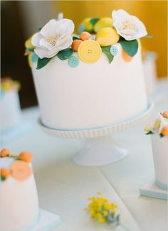 Kumquat and lemon cake.  This cake is from a beautiful baby shower. Follow the link and check it out.