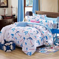 Blue White and Red Dolphin Print Cartoon Themed Cute Style 100% Cotton Twin, Full Size Bedding Sets for Kids