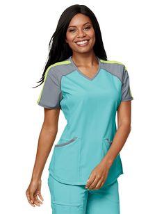 Cherokee Infinity Colorblock V-Neck Scrub Top Cute Scrubs Uniform, Spa Uniform, Medical Uniforms, Medical Scrubs, Scrub Tops, Work Wardrobe, Work Fashion, Dress Patterns, Dress Up
