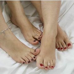 Alana (left) and Frazine Nice Toes, Pretty Toes, Feet Soles, Women's Feet, Pies Sexy, Cute Toe Nails, Foot Pics, Foot Pictures, Foot Love
