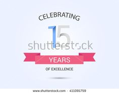 15 years anniversary, signs, symbols, simple design with red ribbon. - stock vector
