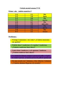 Ejercicios de calculo mental  1º a 6º semana nº 01 by manueloyarzun via slideshare