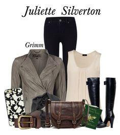 """Juliette Silverton"" by belladels ❤ liked on Polyvore featuring Dr. Denim, VIPARO, Joseph, Frye, Kate Spade, Liebeskind, TV, Grimm, juliettesilverton and belladels"