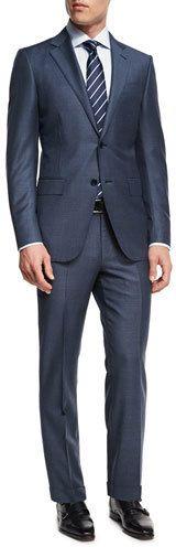 Ermenegildo Zegna Tonal Plaid Trofeo® Wool Two-Piece Suit, Slate Blue Best Suits For Men, Cool Suits, Men's Suits, Blue Suit Men, Modern Mens Fashion, Bespoke Suit, Estilo Fashion, Suit Fashion, Costume