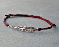Long Feather Unisex Bracelet Silver Feather Charm Cord by GUSFREE