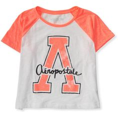 Aeropostale Sparkle A Crop Raglan Tee ($4.99) ❤ liked on Polyvore featuring tops, t-shirts, shirts, blusas, radiant coral, sparkle t shirts, star t shirt, raglan tee, aeropostale shirts and crop shirts