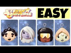 DIY Steve, Garnet, Amethyst & Pearl Easy Polymer Clay Charms Tutorial. For those out there who love watching some Steven Universe. If you decide to make thes...