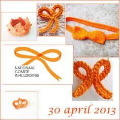Oranje strikjes en kroontjes. Haakpatronen voor 30 april 2013  http://hakenvooriedereen.blogspot.nl/2013/04/oranje-strik-haken.html