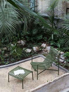 Olive green slatted steel outdoor garden furniture designed by Ronan & Erwan Bouroullec for HAY designed to suit urban and natural landscapes