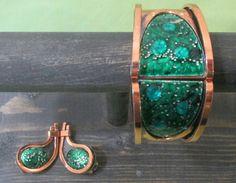 1960s MATISSE RENOIR Bracelet and Earrings Teal Green Bubble Enamel Copper Hinged Clamper Cuff Bracelet by LAVintageVillain on Etsy