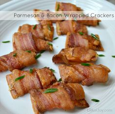 Crispy Parmesan & Bacon Wrapped Crackers - so easy to make and a hit at every party