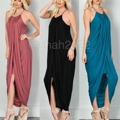 New hi low Drape ruched long maxi dress sexy skirt ❌COMMENT ON SIZE AND COLOR NEEDED FOR Availability  PRICE IS FIRM UNLESS BUNDLED❌.  New retails.... Hi low lo Drape ruched maxi  with layered shirt underneath. Racer back, spaghetti straps.ruched neckline and drape sides. Very comfy and super sexy. Fabric content 95% Rayon and 5% spandex ...Available in black and teal. Small medium and large. Boutique Dresses Maxi