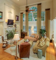 The Chic Technique: Window treatments - elegant panels floor to ceiling frame out windows without being distracting. Transom Window Treatments, Window Treatments Living Room, Transom Windows, Living Room Furniture Layout, Interior Design Living Room, Large Window Curtains, Lace Window, Room Window, Great Rooms