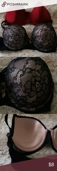 ????Bundle of Jessica Simpson Bras Two Jessica Simpson Bras. One in scarlet with lace. The other in pink with blue lace. Signs of wear, but in decent condition. Jessica Simpson Intimates & Sleepwear Bras