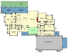 Large House Plans, Plumbing Drawing, Car Barn, Built In Bar, American Farmhouse, Building Section, Floor Framing, Tall Ceilings, Farmhouse Plans