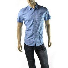 Guess Mens Shirt Blue Tonal Plaid Print Short Sleeve Button Down
