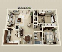plan maison 3d dappartement 2 pices en 60 exemples - Plans D Appartements Modernes