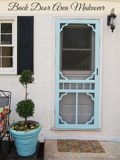 Really pretty back door area makeover. There are lots of easy to do ideas!