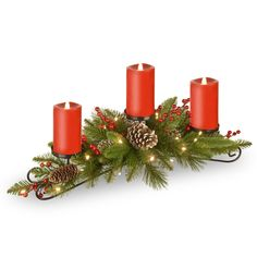 National Tree Company 30 in. Feel Real Bristle Berry Centerpiece With 3 Electronic Candles, Battery Operated Lights, Berries and Cones Christmas Store, Green Christmas, Christmas Themes, Candle Centerpieces, Candle Lanterns, Pillar Candles, Flickering Lights, Battery Operated Lights, Ornament Box