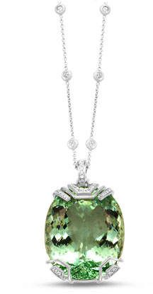 Frederic Sage 18K White Gold & Green Beryl Pendant Necklace with Diamonds